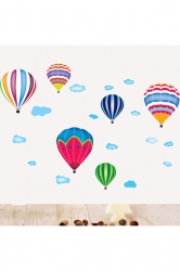 Cartoon Hot Air Balloons And Clouds Removable Wall Sticker Multicolor