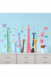 Colorful Giraffe Wall Decal For Kids Room Multicolor