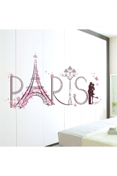Romance Paris Eiffel Tower Decorative Wall Stickers Pink