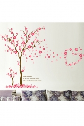 Style Big Tree Blossom PVC Wall Stickers Decals Pink