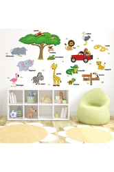 Forest Animal Collection Removable Wall Stickers Green