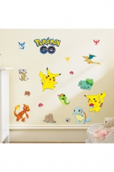 Cartoon Pokemon Characters Removable Wall Stickers Yellow