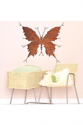 3D Brick Butterfly Wall Sticker Decal Brown