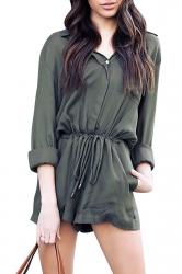 Womens Elegant Waisted V Neck Long Sleeve Turndown Pocket Romper Green