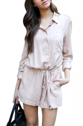 Womens Elegant Waisted V Neck Long Sleeve Turndown Pocket Romper Pink