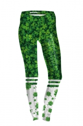 Womens Skinny High Waisted Clover Printed Leggings Green