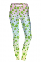 Womens Skinny High Waisted Clover Printed Leggings Light Green