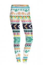 Womens Skinny High Waisted Clover Printed Leggings Multicolor
