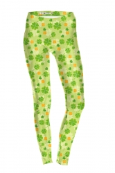 Womens Skinny High Waisted Clover Printed Leggings Yellow
