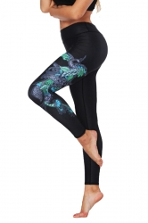 Womens Stretchy Ankle Length Close-Fitting Printed Leggings Black