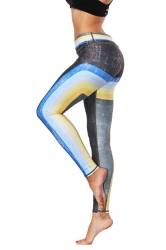 Womens Stretchy Ankle Length Color Block Printed Leggings Light Blue