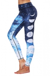 Womens Galaxy Ankle Length Star Moon Printed Leggings Navy Blue