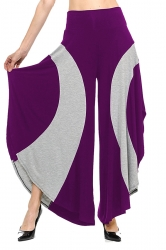 Womens Loose Contrast Color High Waisted Wide Leg Bell Pants Purple