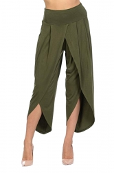 Womens Stylish Ruffle High Waisted Asymmetric Hem Pants Army Green