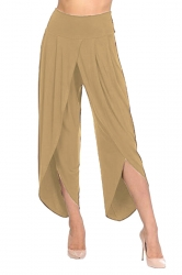 Womens Stylish Ruffle Split High Waisted Asymmetric Hem Pants Apricot