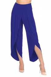 Womens Stylish Ruffle Split High Waisted Asymmetric Hem Pants Blue