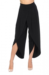 Womens Stylish Ruffle Split High Waisted Asymmetric Hem Pants Black