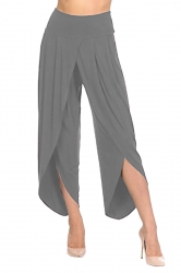 Womens Stylish Ruffle High Waisted Asymmetric Hem Pants Dark Gray