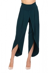 Womens Stylish Ruffle High Waisted Asymmetric Hem Pants Dark Green