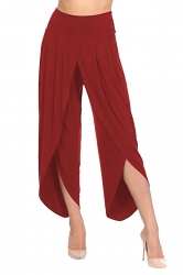 Womens Stylish Ruffle Split High Waisted Asymmetric Hem Pants Red