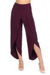 Womens Stylish Ruffle Split High Waisted Asymmetric Hem Pants Ruby