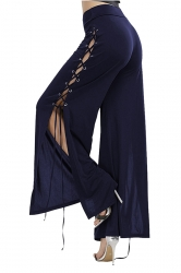 Womens Lace Up Eyelet Side Slit Wide Leg High Waisted Pants Navy Blue