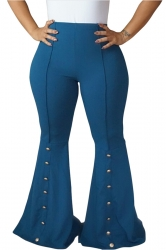 Womens Close-Fitting High Waisted Button Bell Pants Blue