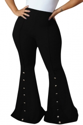 Womens Close-Fitting High Waisted Button Bell Pants Black