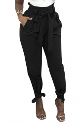 Womens Trendy Belted Ankle Tie High Waist Pants Black