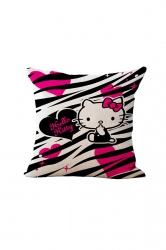 Cute Hello Kitty Printed Throw Pillow Case Covers Rose Red 18x18in