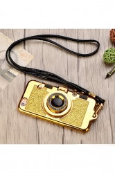 Yellow Shiny With Mirror Lanyard Camera Soft TPU Case for iPhone