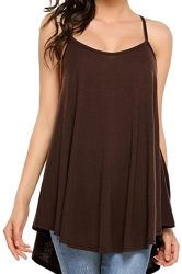 Womens Sexy Spaghetti Straps High Low Loose Plain Slip Tank Top Coffee