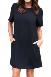 Womens Loose Short Sleeve Pocket Crew Neck Smock Dress Black