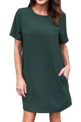 Womens Loose Short Sleeve Pocket Crew Neck Smock Dress Dark Green
