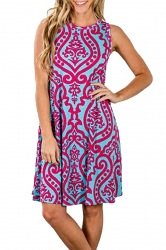 Womens Vintage Sleeveless Pocket Casual Tribal Dress Rose Red