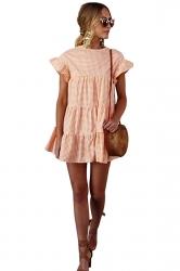 Womens Trendy Short Sleeve Ruffle Split Plaid Layered Dress Orange