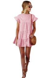 Womens Trendy Short Sleeve Ruffle Split Plaid Layered Dress Pink