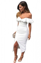 Womens Sexy Ruffle Shoulder Front Slit Bodycon Tube Dress White