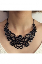 Black Trendy Vintage Hollow Out Heart Flower Shaped Chokers Necklace