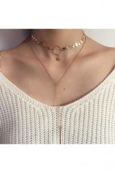 Gold Sequined Star Design Bar Pendant Double Layers Choker Necklace