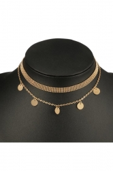 Gold Elegant Double Layers Coin Bead Choker