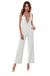 Sexy Deep V Neck Backless Sleeveless Wide Legs Plain Jumpsuit White