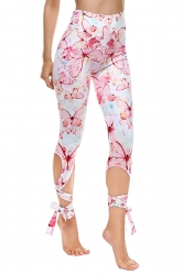 Womens Close-Fitting Ripped Butterfly Printed Tie Leggings Light Pink