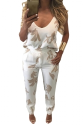 Womens Spaghetti Strap V Neck Graphic Backless Two Piece Suit Khaki