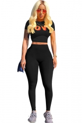 Short Sleeve Print Crop Top&High Waist Leggings Sports Suit Black