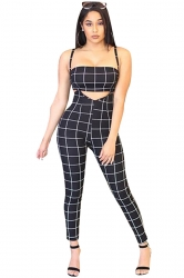Tube Bandeau Top&High Waist Overall Plaid Two Piece Suit Black