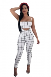 Tube Bandeau Top&High Waist Overall Plaid Two Piece Suit White