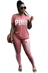 Crew Neck Short Sleeve Top&High Waist Leggings Print Sports Suit Pink