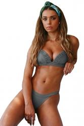 Halter Pleated Back Tie Top&High Cut Bottoms Plain Bikini Grey