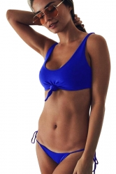 Tie Front Sleeveless Top&Double Strings Bottoms Plain Bikini Sapphire Blue
